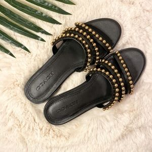 Coach Isa Studded Leather Slides Sandals